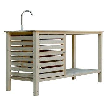 Záhradný pracovný stôl s umývadlom, prírodná, BORON