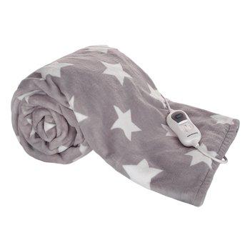Vyhrievacia deka, sivá/vzor hviezdy, 130x180 cm, MEDISA TYP 1