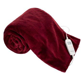 Vyhrievacia deka, tmavočervená/biela, 130x180 cm, MEDISA TYP 3