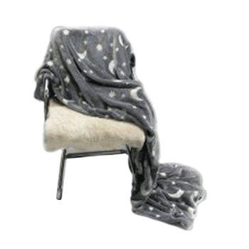 Svietiaca deka, sivá/vzor, 150x200cm, GLOVIS TYP 1