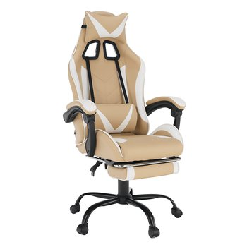 Kancelárske/herné kreslo, čierna/biela/béžová, OZGE 2 NEW