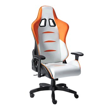 Kancelárske/herné kreslo, biela/oranžová/čierna, ASKARE