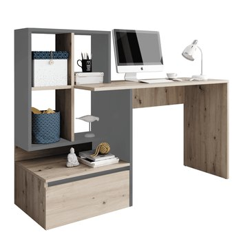 PC stôl, dub artisan/grafit-antracit svetlý, NEREO