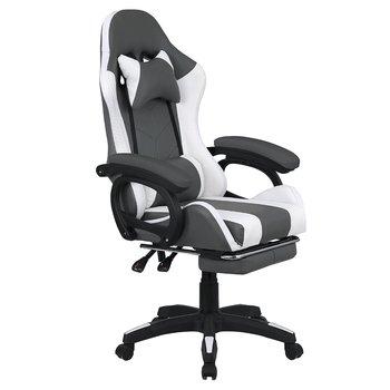 Kancelárske/herné kreslo s RGB LED podsvietením, čierna/biela, JOVELA
