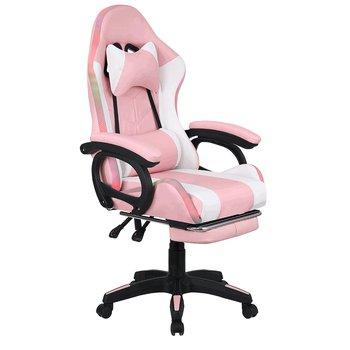 Kancelárske/herné kreslo s RGB LED podsvietením, ružová/biela, JOVELA