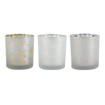 Svietniky, set 3 ks, strieborná/zlatá, sklo, GOLAN TYP 3