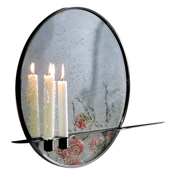 Zrkadlo so stojanom na 2 sviečky, patinované, čierny kovový rám, HAREO TYP 1