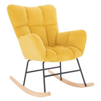 Dizajnové hojdacie kreslo, žltá, KEMARO