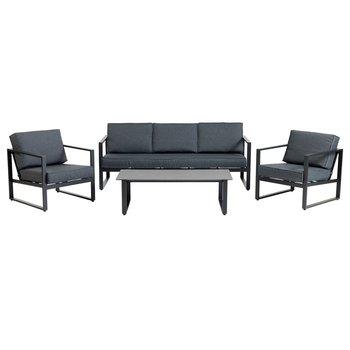 Záhradný trojdielny set, 3-sed/2xkreslo/stolík, čierna, VONGE