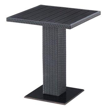 Záhradný jedálenský stôl, čierna, ratan/žula/Artwood, THY