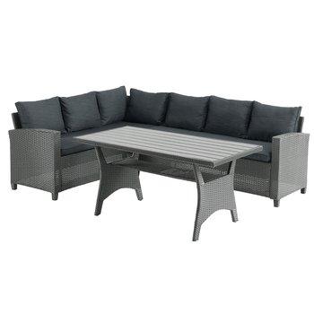 Záhradný rohový set so stolom, sivá ULLEHUSE