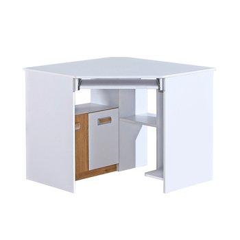 PC stôl rohový, biela/dub nash, EGO L11