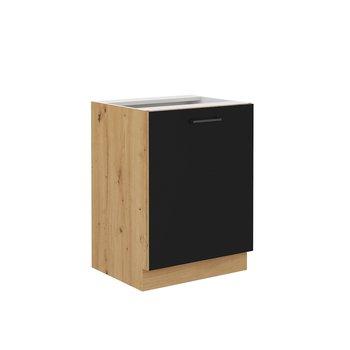 Spodná kuchynská skrinka, čierny mat/dub artisan, MONRO 60 D 1F BB