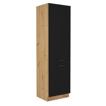 Skrinka na vstavanú chladničku, čierny mat/dub artisan, MONRO 60 LO-210 2F