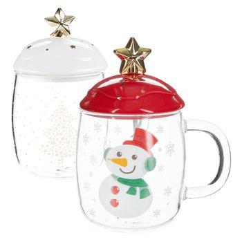 Detské vianočné poháre, set 2 ks, s viečkom, sklo/keramika, HAPPY DUO