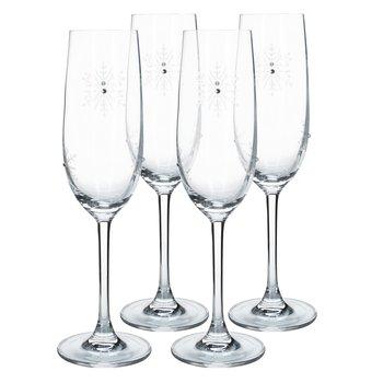 Poháre na šampanské, set 4 ks, 230 ml, číra/biela, SNOWFLAKE CHAMPAGNE