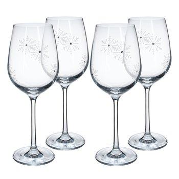 Poháre na víno, set 4 ks, 450 ml, číra/biela, SNOWFLAKE VINO