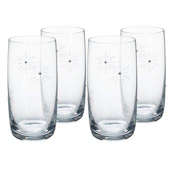 Poháre na vodu, set 4 ks, 460 ml, číra/biela, SNOWFLAKE DRINK