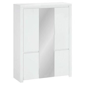 Skriňa 5D so zrkadlom, biely lesk, LINDY