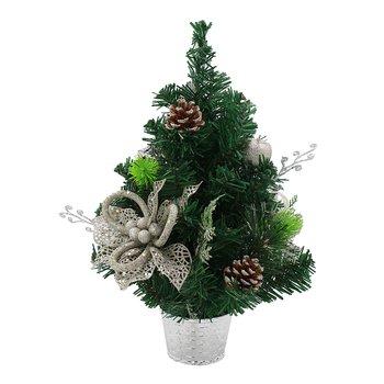 Vianočný stromček s ozdobami, zelený so strieborným kvetináčom, 40 cm, CHRISY