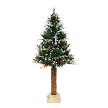 Vianočný stromček so šíškami na pníku, posnežený, 180 cm, PNIK TYP 1