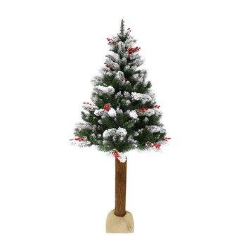 Vianočný stromček s šiškami na pníku, posnežený, 180 cm, PNIK TYP 2