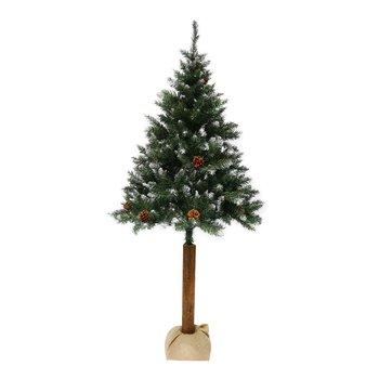 Vianočný stromček so šiškami na pníku, posnežený, 210 cm, PNIK TYP 3