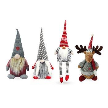Vianočné dekoračné postavičky, set 4 ks, látka, červená/sivá/biela, DOLL