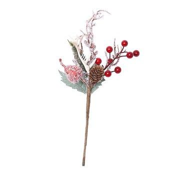 Vianočné vetvičky, set 4 ks, 30 cm, biela/červená, GREN SET TYP 1