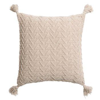 Pletený vankúš, béžová, 45x45, USALE