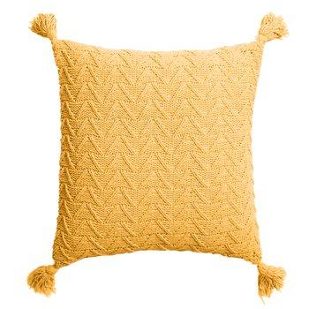 Pletený vankúš, horčicová, 45x45, USALE