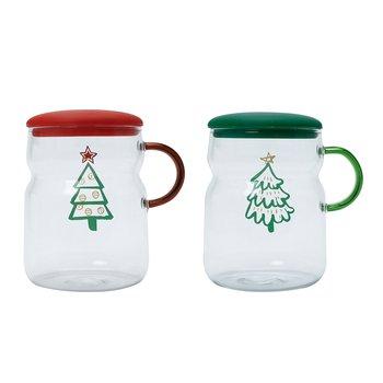 Vianočné poháre s viečkom, set 2 ks, 460 ml, sklo, MUGY