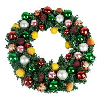 Vianočný veniec s LED svetielkami a dekoráciami, ATILA