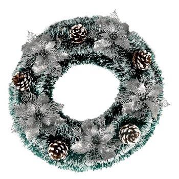 Vianočný veniec s dekoráciami, zelená/strieborná, KVIDO