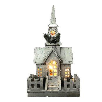 Vianočný kostolík s LED osvetlením, biela, drevo, ODETTA