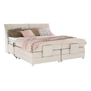 Elektrická polohovacia posteľ, boxpring, béžová, 160x200, GERONA