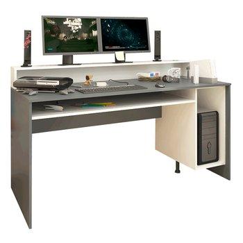 PC stôl/herný stôl, grafit/biela, TEZRO NEW