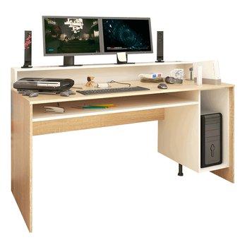 PC stôl/herný stôl, dub sonoma/biela, TEZRO NEW